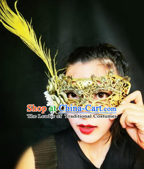 Halloween Catwalks Venice Golden Face Mask Fancy Ball Props Accessories Christmas Exaggerated Feather Masks