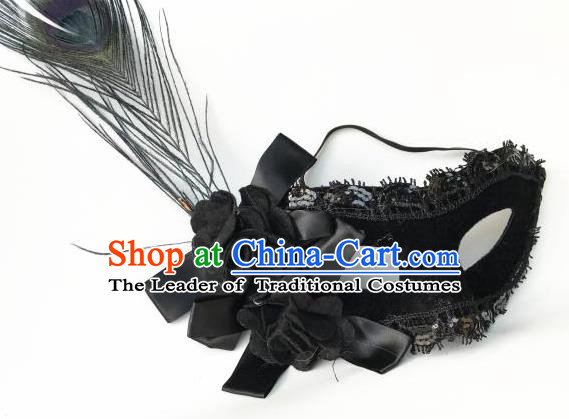 Halloween Catwalks Venice Black Flowers Face Mask Fancy Ball Props Accessories Christmas Exaggerated Feather Masks