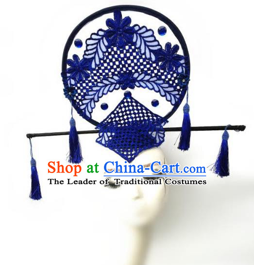 Top Grade Catwalks Hair Accessories Exaggerated Chinese Blue Lace Hair Clasp Modern Fancywork Headwear