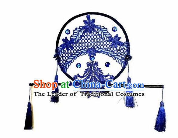 Top Grade Catwalks Hair Accessories Exaggerated Chinese Blue Crystal Lace Hair Clasp Modern Fancywork Headwear