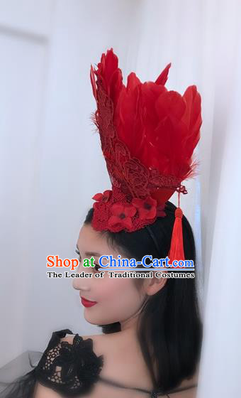 Top Grade Catwalks Hair Accessories Exaggerated Baroque Red Feather Hair Clasp Modern Fancywork Headwear
