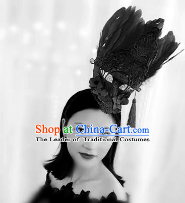 Top Grade Catwalks Hair Accessories Exaggerated Baroque Black Feather Hair Clasp Modern Fancywork Headwear