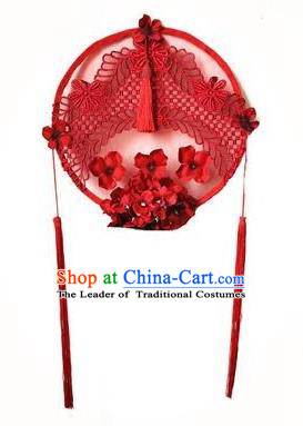 Top Grade Catwalks Hair Accessories Exaggerated Chinese Red Lace Hair Clasp Modern Fancywork Headwear