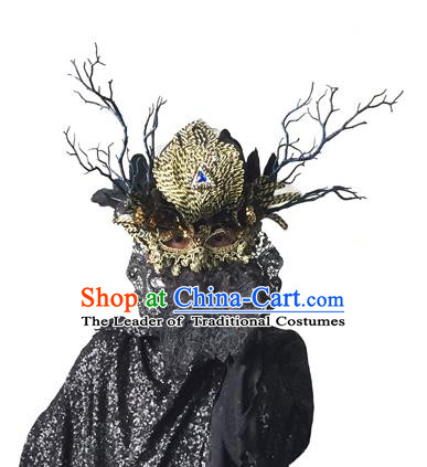Halloween Catwalks Handmade Face Mask Fancy Ball Crystal Feather Masks Christmas Exaggerated Feather Masks