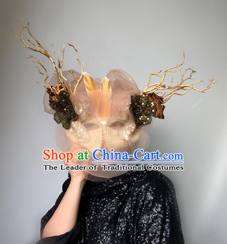 Halloween Handmade Pink Veil Face Mask Fancy Ball Catwalks Masks Christmas Exaggerated Feather Masks