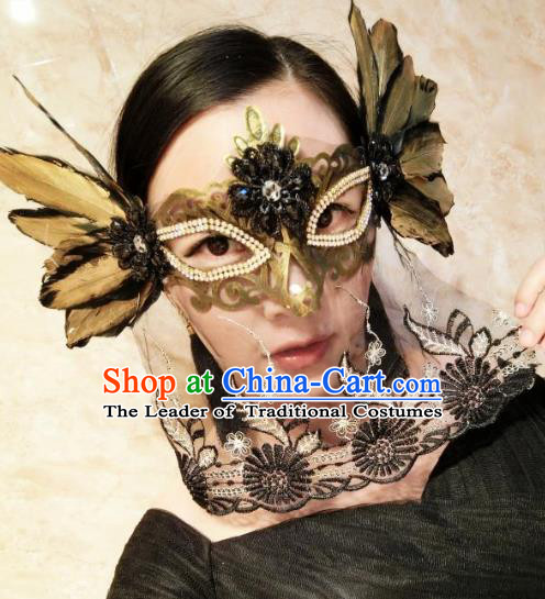 Halloween Handmade Golden Feather Face Mask Fancy Ball Catwalks Masks Christmas Exaggerated Feather Masks