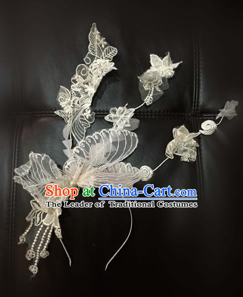Top Grade Catwalks Hair Accessories Exaggerated White Lace Hair Clasp Modern Fancywork Headwear