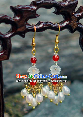 China Ancient Palace Accessories Pearls Earrings Chinese Traditional Jewelry Hanfu Eardrop for Women