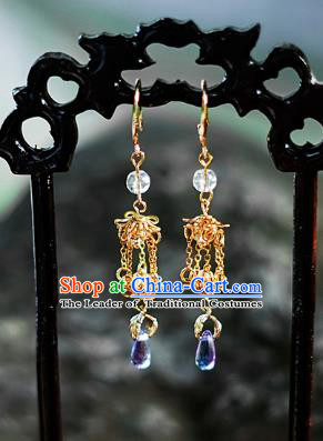 China Ancient Palace Accessories Golden Earrings Chinese Traditional Jewelry Hanfu Eardrop for Women