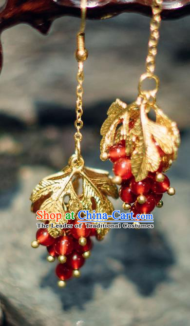 China Ancient Palace Accessories Agate Earrings Chinese Traditional Jewelry Hanfu Eardrop for Women