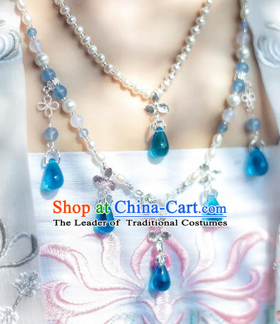 China Ancient Palace Accessories Pearls Necklace Chinese Traditional Jewelry Hanfu Necklet for Women