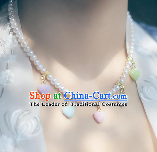 China Ancient Palace Accessories Classical Pearls Necklace Chinese Traditional Jewelry Hanfu Necklet for Women