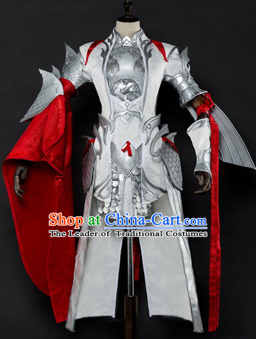 China Ancient Cosplay Female General White Armour Swordsman Costumes Chinese Traditional Warriors Knight-errant Clothing for Women