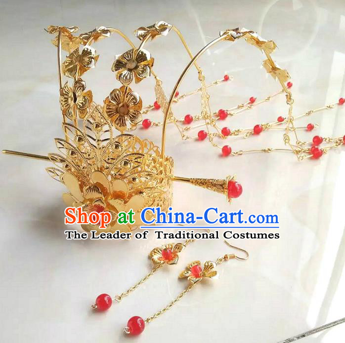 China Ancient Queen Hair Accessories Chinese Traditional Tassel Phoenix Coronet Hairpins for Women