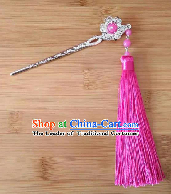 China Ancient Hair Accessories Hanfu Rosy Tassel Hair Clip Chinese Classical Hairpins for Women