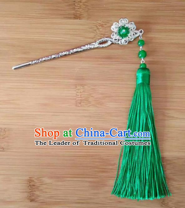 China Ancient Hair Accessories Hanfu Green Tassel Hair Clip Chinese Classical Hairpins for Women