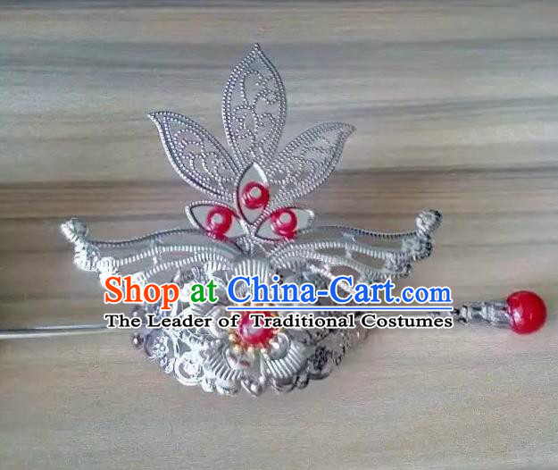China Ancient Hair Accessories Hanfu Red Beads Hairdo Crown Chinese Traditional Hairpins for Women