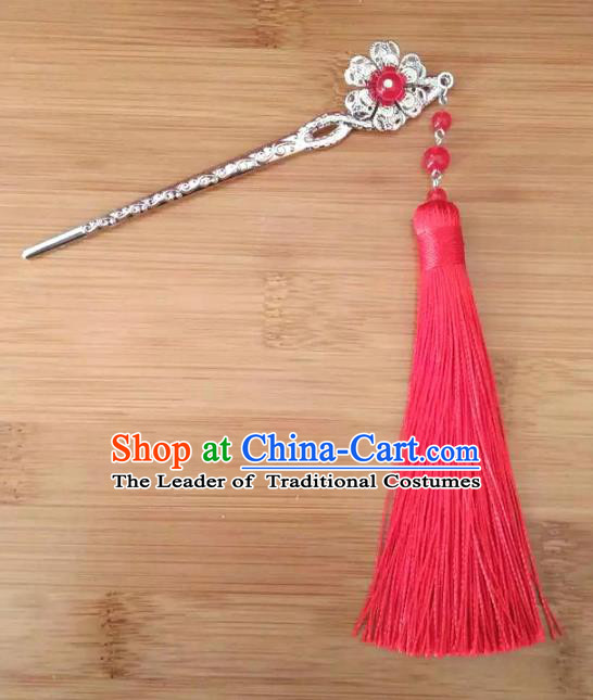 China Ancient Hair Accessories Hanfu Red Tassel Hair Clip Chinese Classical Hairpins for Women