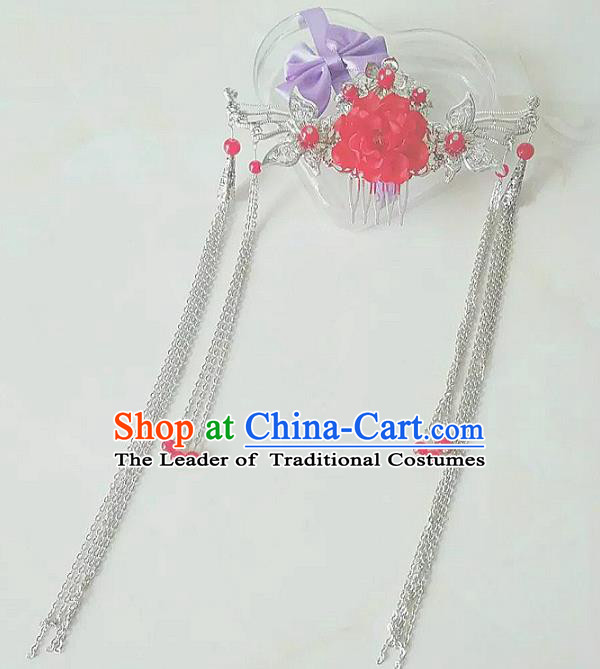 China Ancient Hair Accessories Hanfu Tassel Red Flower Hair Comb Chinese Classical Hairpins for Women