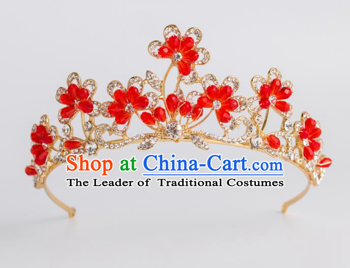 Baroque Bride Hair Accessories Classical Royal Crown Red Imperial Crown Headwear for Women