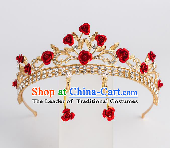 Baroque Bride Hair Accessories Classical Royal Crown Red Rose Crystal Imperial Crown Headwear for Women