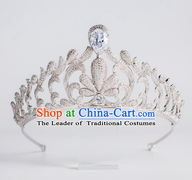Baroque Bride Hair Accessories Classical Wedding Royal Crown Zircon Imperial Crown Headwear for Women
