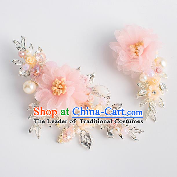 Chinese Ancient Bride Hair Accessories Xiuhe Suit Hairpins Pink Silk Flower Hair Sticks for Women