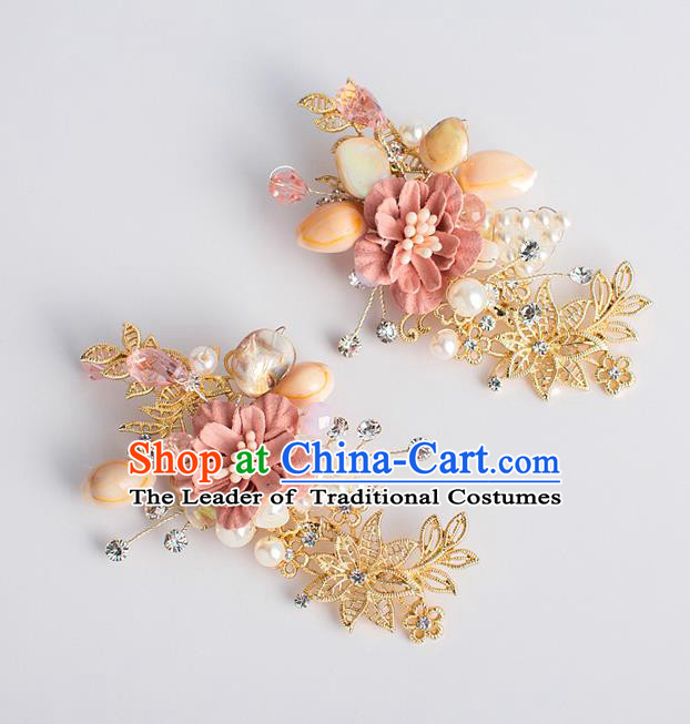 Chinese Ancient Bride Hair Accessories Xiuhe Suit Hairpins Pink Flower Hair Sticks for Women