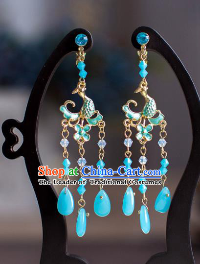 Chinese Ancient Bride Classical Accessories Blue Earrings Wedding Jewelry Hanfu Eardrop for Women
