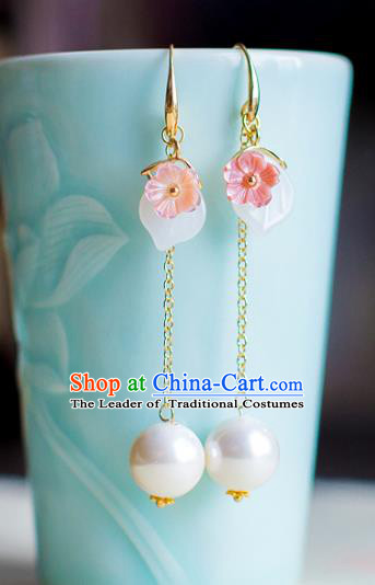 Chinese Ancient Bride Classical Accessories Earrings Wedding Jewelry Hanfu Eardrop for Women