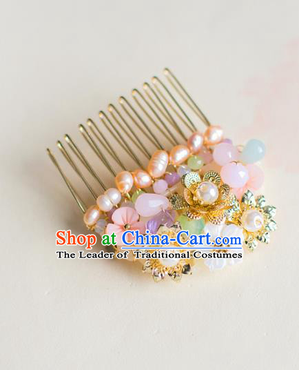 Chinese Traditional Palace Hair Accessories Xiuhe Suit Pearls Hair Comb Ancient Hairpins for Women