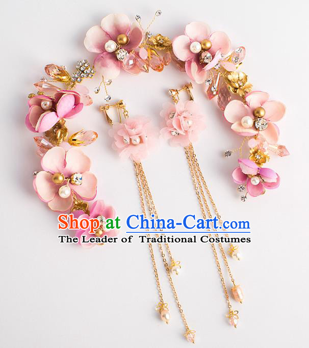 Bride Hair Accessories Wedding Pink Flowers Hair Clasp Garland for Women