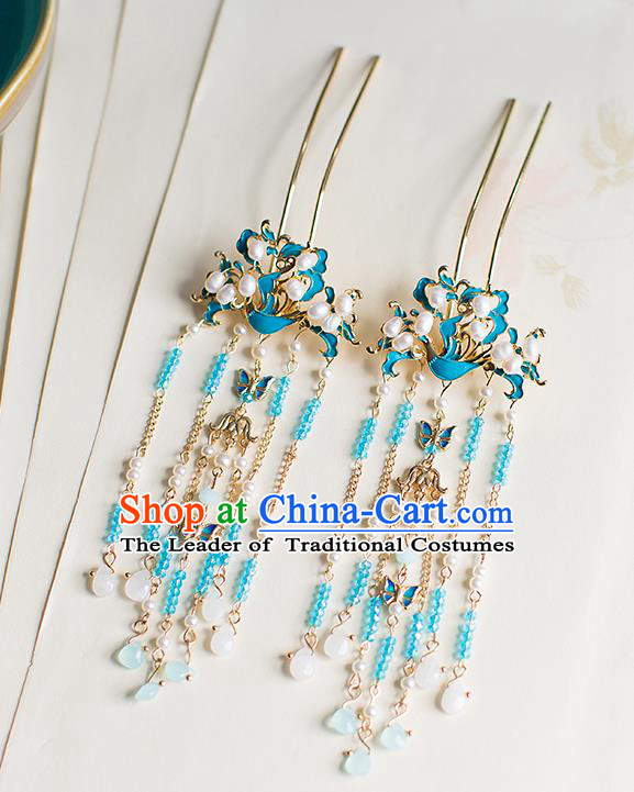 Chinese Traditional Palace Hair Accessories Xiuhe Suit Blueing Phoenix Hair Clips Ancient Hairpins for Women