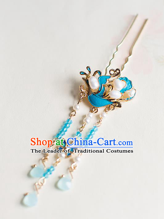 Chinese Traditional Palace Hair Accessories Xiuhe Suit Blueing Phoenix Pearls Hair Clips Ancient Hairpins for Women