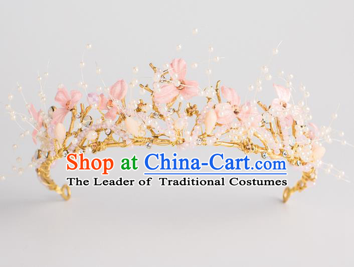 Baroque Bride Hair Accessories Classical Wedding Royal Crown Pink Flowers Imperial Crown Headwear for Women