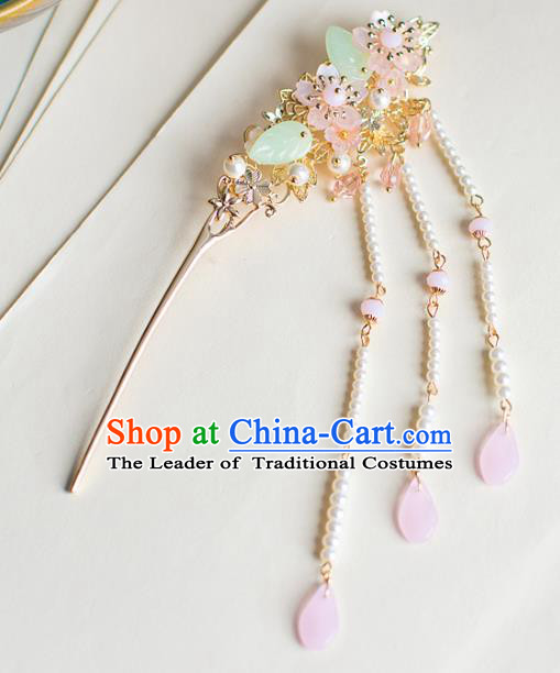 Chinese Traditional Palace Hair Accessories Xiuhe Suit Pearls Tassel Hair Clips Ancient Hairpins for Women