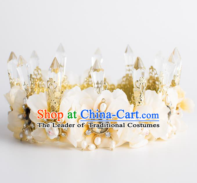 Baroque Bride Hair Accessories Classical Wedding Royal Crown Retro Imperial Crown Headwear for Women
