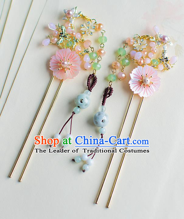 Chinese Traditional Palace Hair Accessories Shell Flower Hair Clips Ancient Xiuhe Suit Hairpins for Women