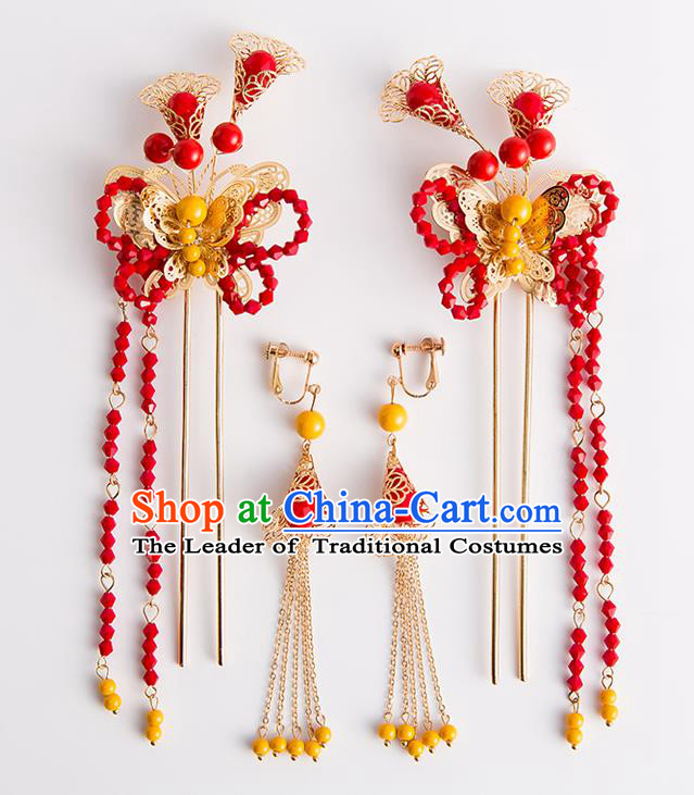 Chinese Traditional Wedding Hair Accessories Ancient Bride Red Beads Tassel Hairpins Headwear for Women