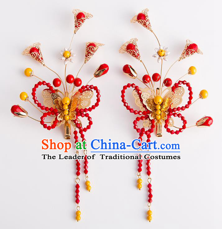 Chinese Traditional Wedding Hair Accessories Ancient Bride Red Beads Butterfly Hair Claws Hairpins Headwear for Women