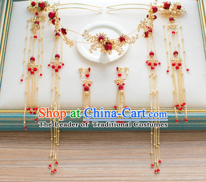 Chinese Traditional Wedding Hair Accessories Ancient Bride Red Phoenix Coronet Hairpins Headwear for Women