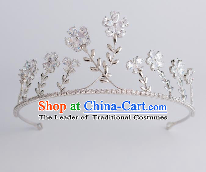 Baroque Bride Hair Accessories Classical Zircon Flowers Royal Crown Princess Imperial Crown Headwear for Women