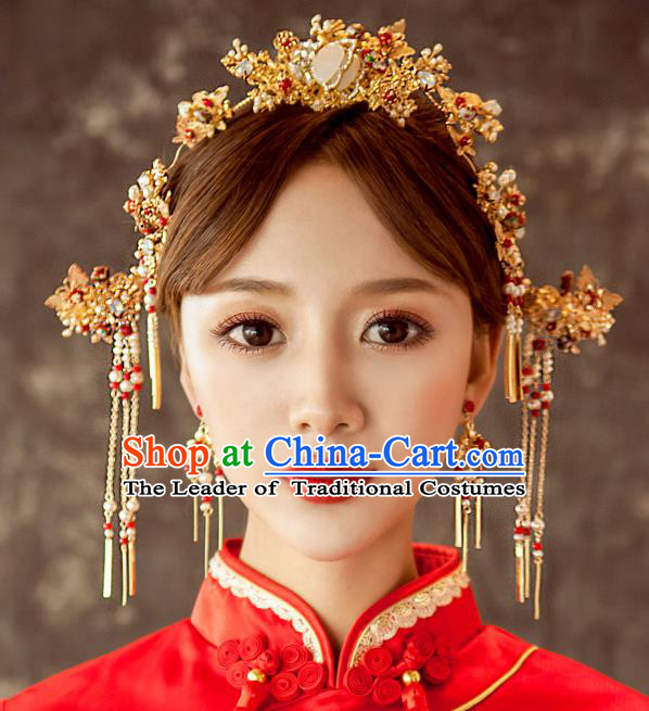 Chinese Traditional Wedding Hair Accessories Phoenix Coronet Ancient Xiuhe Suit Bride Hairpins Complete Set for Women