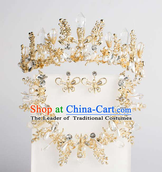 Baroque Bride Hair Accessories Classical Wedding Princess Crystal Imperial Crown Headwear for Women