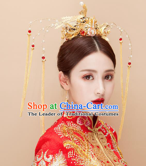 Chinese Traditional Palace Hair Accessories Wedding Phoenix Coronet Ancient Xiuhe Suit Hairpins Complete Set for Women