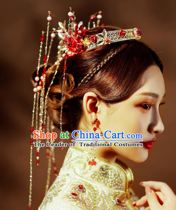 Chinese Traditional Palace Hair Accessories Wedding Red Flowers Phoenix Coronet Ancient Xiuhe Suit Hairpins Complete Set for Women