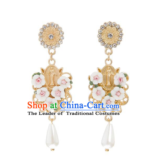 Bride Classical Accessories Flowers Earrings Wedding Jewelry Pearls Eardrop for Women