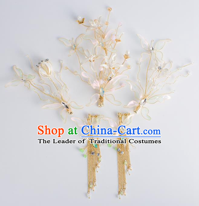 Bride Hair Accessories Wedding Crystal Flowers Hair Claws and Earrings Headwear for Women