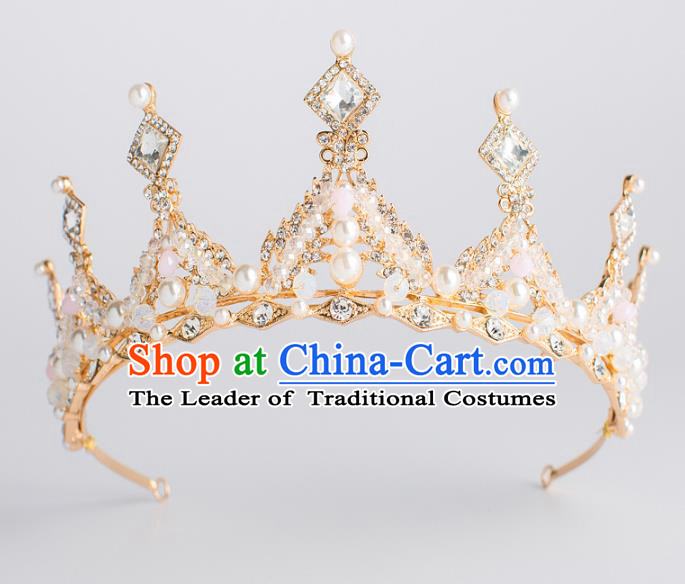 Baroque Bride Hair Accessories Classical Wedding Hair Clasp Golden Imperial Crown Headwear for Women
