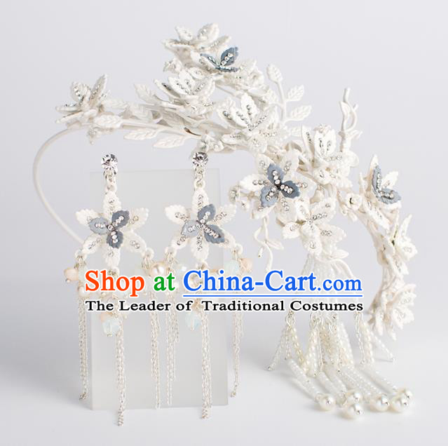 Bride Hair Accessories Wedding Flowers Tassel Hair Clasp and Earrings Headwear for Women